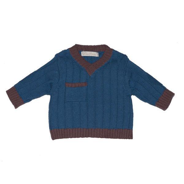 Prodeti.cz - Modrý svetřík s hnědým lemem