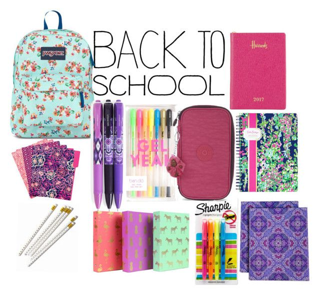 """Back to school"" by valbertelli ❤ liked on Polyvore featuring JanSport, Vera Bradley, Kipling, Harrods, Sharpie, Lilly Pulitzer, backpack and inmybackpack"