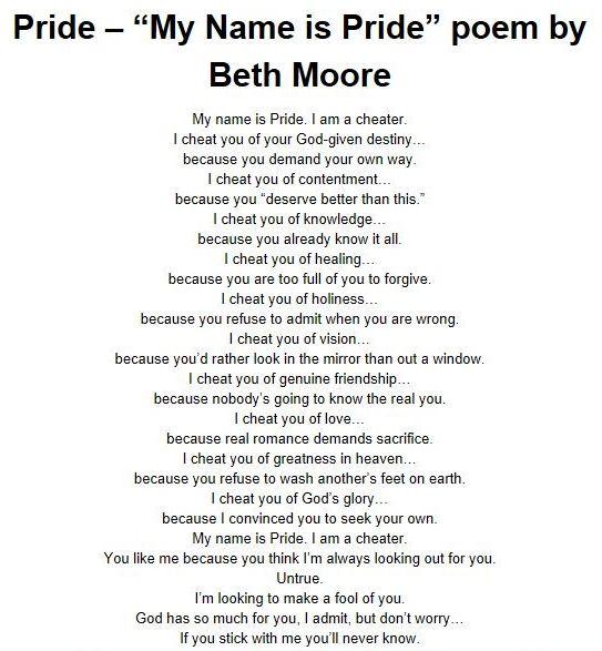 """""""My Name is Pride"""" by Beth Moore"""