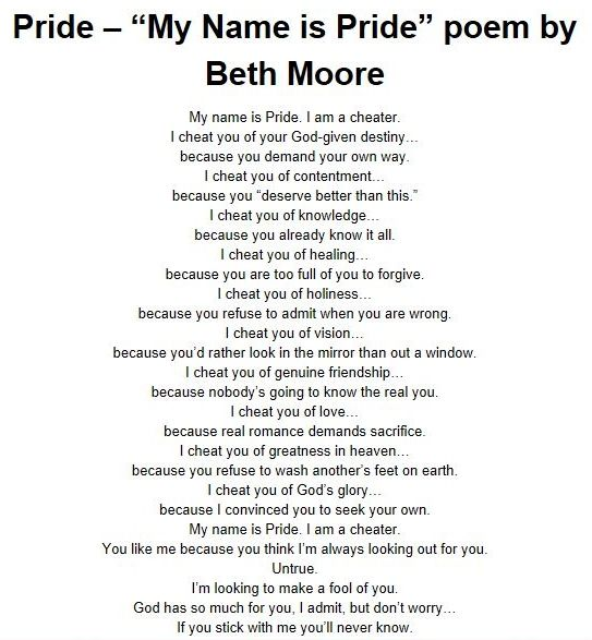 """My Name is Pride"" by Beth Moore"