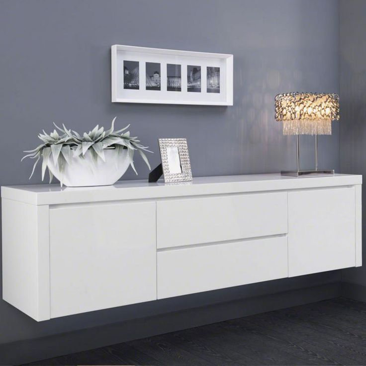 Buffet bahut suspendu blanc laqu design tyler deco pinterest design et - Buffet salon blanc laque ...