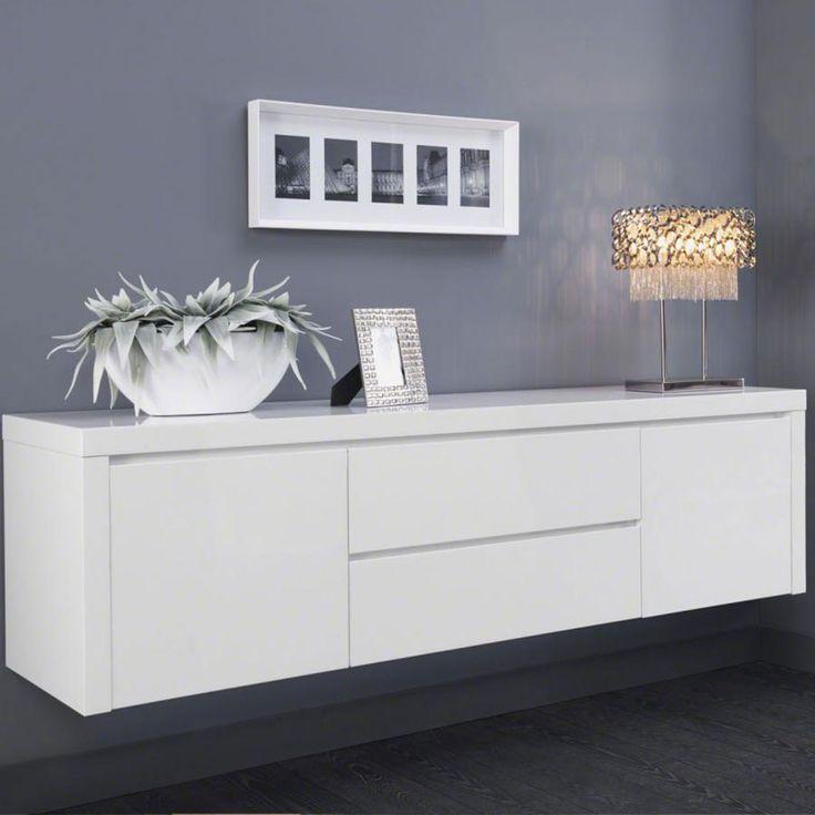 Buffet bahut suspendu blanc laqu design tyler deco pinterest design et - Buffet salon blanc laque ...