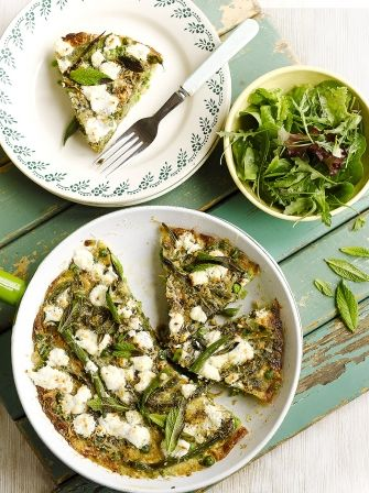 Trick your kids into eating their greens with this healthy and delicious summer vegetable frittata with goats cheese online at Jamie Oliver today.