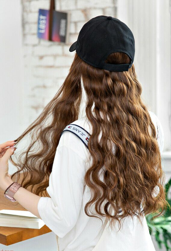 Baseball Cap Hat Wig Long Wavy Curly Synthetic Hair Hairpiece Wigs Women Fashion Hair Pieces Synthetic Hair Hair