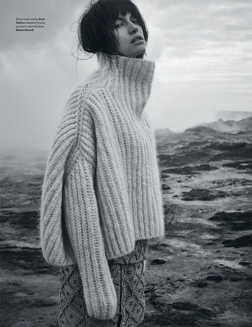 My Nan tried to knit me a jumper and it turned out a lot like this! No wonder the model looks unhappy - poor girl!