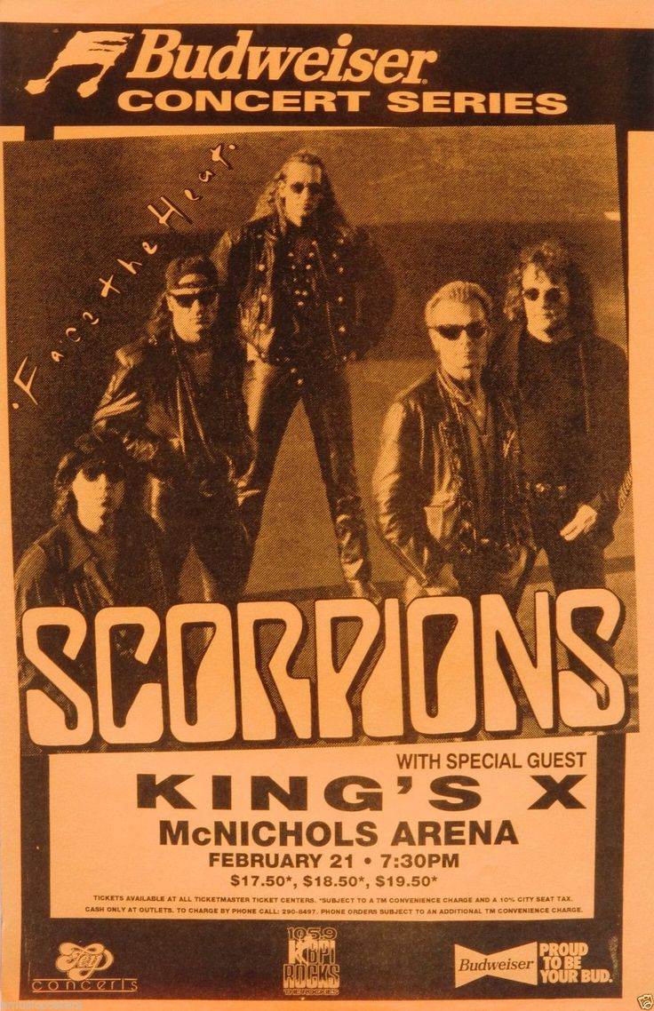 Rock Concert Posters   Scorpions King's x 1993 Denver Concert Tour Poster Hard Rock Music ...