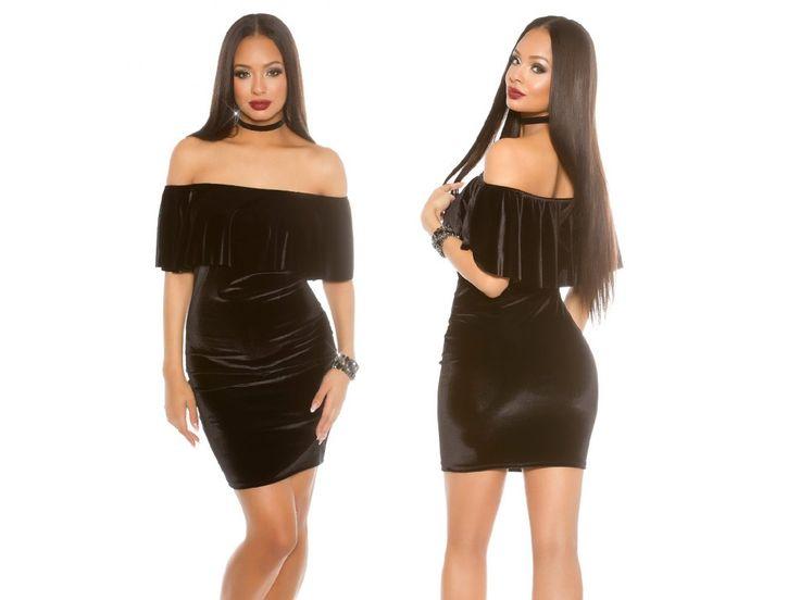 Černé šaty VELVET s volánkem, SKLADEM - Bestmoda - little black evening dress