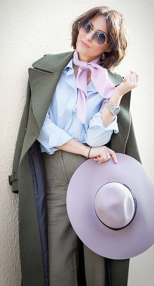 lilac scarf   river island lilac floppy hat   chloe round sunglasses   khaki outfit   military coat   spring outfit ideas   galant girl   ellena galant