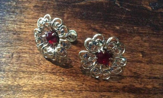 Red Glass Filigree Earrings Flower Vintage Jewelry ETSY SALE