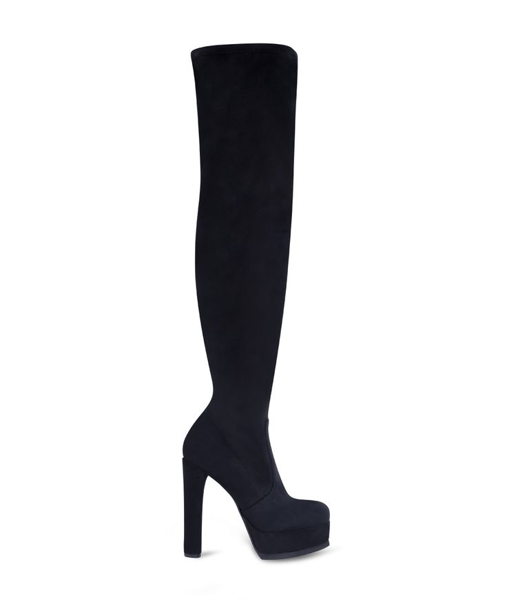 SANTE heeled, almond toe with front platform boot for special party looks... Black