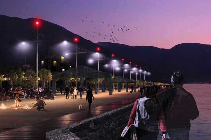 imagen proyectual tipo collage - intervención urbana en localidad de Taltal - perspectiva en crepusculo de paseo peatonal costero