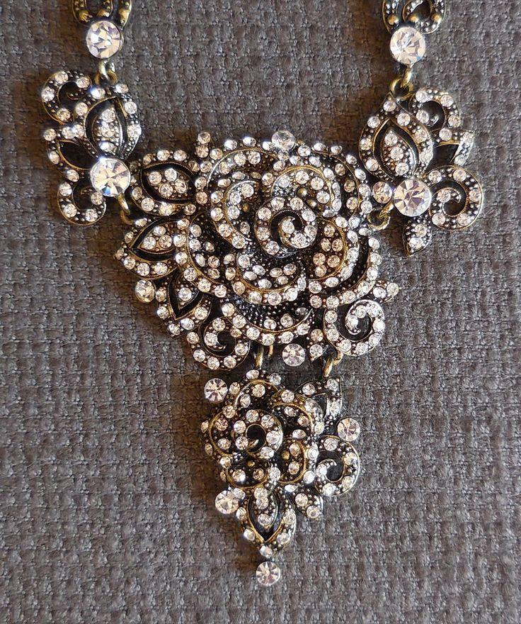 Amazing RHINESTONE ROSE Vintage Statement NECKLACE...Sparkly Figural Flower Jewellery...Retro Wedding Glamour! by SlimandSugar on Etsy
