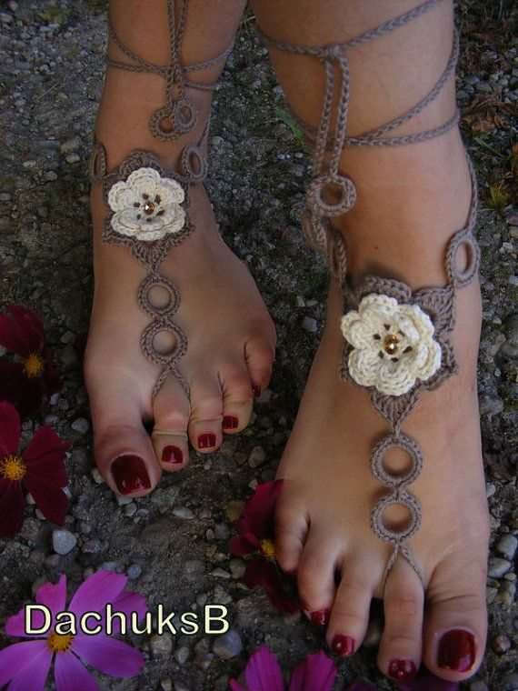 Barefoot sandals BEIGE ROSES handmade beautiful barefoot sandals in beige-brown color with pearl beads, no pattern, Item 9.90 USD