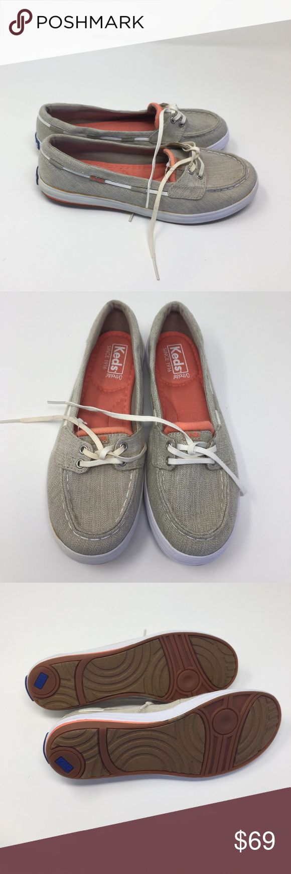 Women's Keds Shoes Glimmer Boat shoes tan 6 a1 These are new without box has some defects on it shoe strings off-color and glue stain on side tan color size 6 Keds Shoes Flats & Loafers