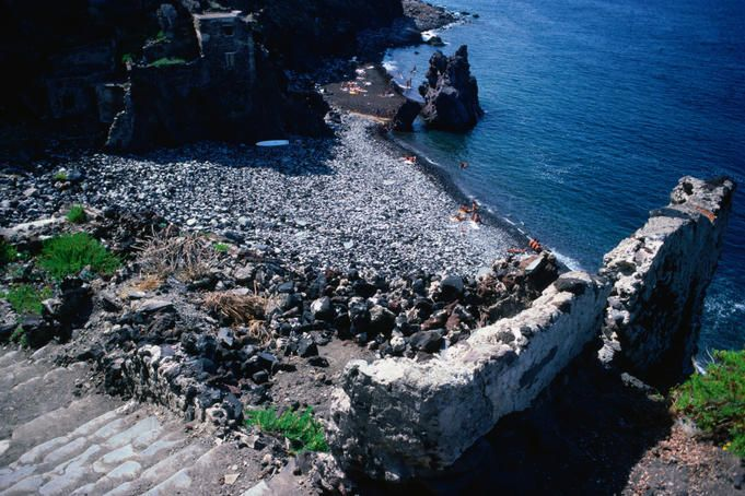 Steps lead down to the rocky Sciara beach on Salina - Isole Eolie (Aeolian Islands).