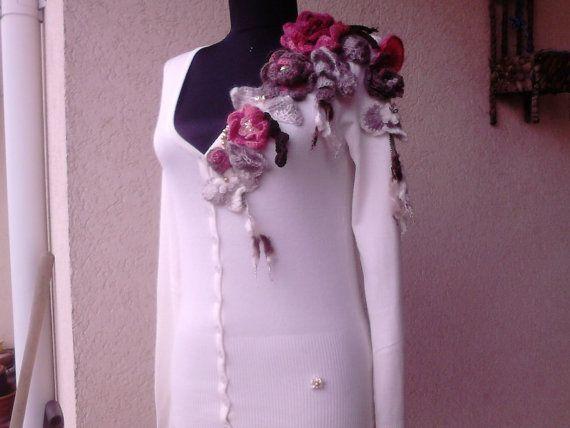 Women Cashmere blouse with handcrochet by AnnesMagicCrochet