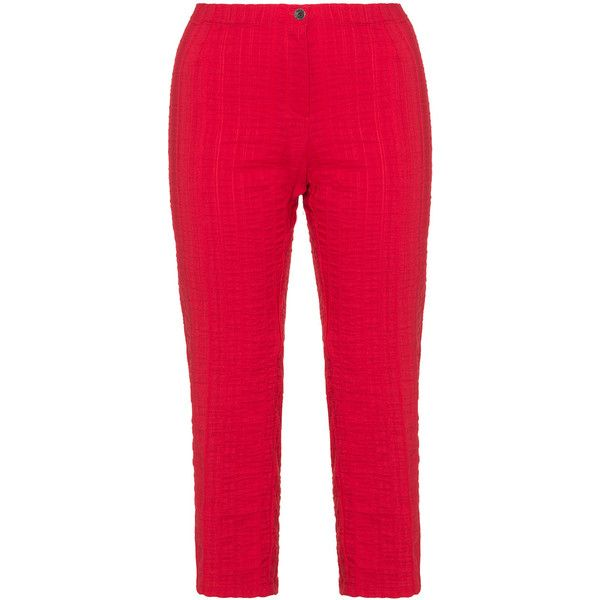 Jean Marc Philippe Red Plus Size Cropped cotton trousers ($77) ❤ liked on Polyvore featuring pants, capris, plus size, red, plus size elastic waist pants, red pants, summer pants, striped pants and stripe pants