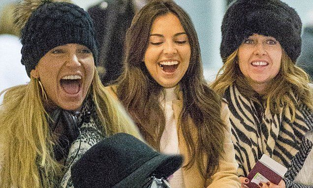Sarah Harding, Gemma Merna and Louisa Lytton at Gatwick Airport
