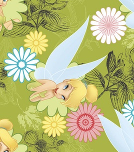 Licensed Fleece Fabric Tinkerbell Sketch Licensed