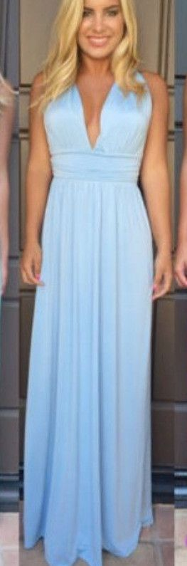 V-neck Cross Backless Sleeveless Long Dress