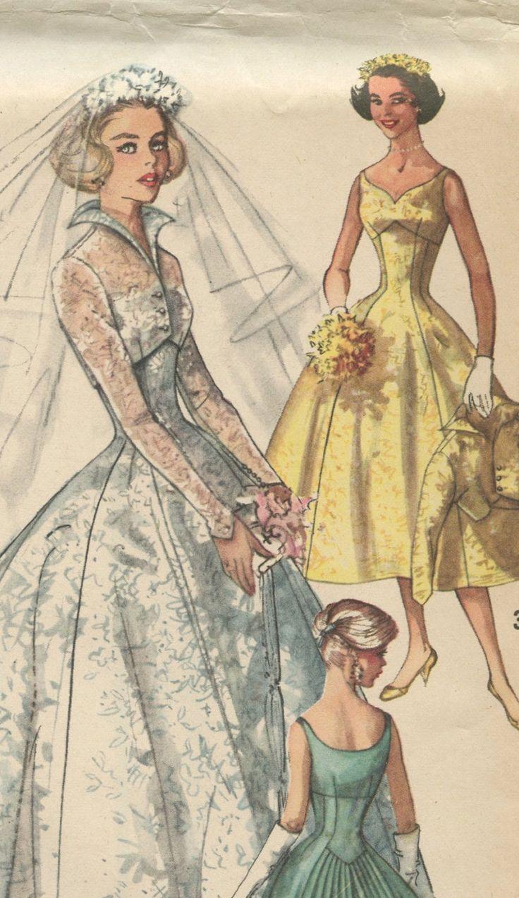 1950s Simplicity 2066 Vintage Wedding Dress Pattern