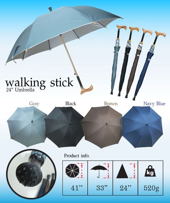 """Umbrella: 24"""" [Walking Stick Umbrella] Product info:Length of Fabric:24 inches, Height 33 inches(Including the handle), Width 41 inches(When unfolded), Weight 520 g."""