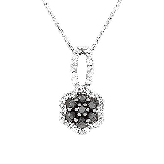 14 CARAT WHITE GOLD PENDANT AND CHAIN