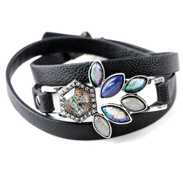 Leather bracelet with blue gemstones.
