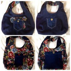 Reversible bag made from old jeans