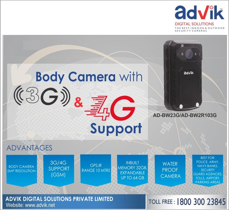 Body Camera with #3G/4G Support!!! Advik's #BodyCamera has 3G/4G support. This allows for effective GSM, Global System for #Mobile Communications. Further, it has a weatherproof rating of IP 66, 2 MP #camera for high resolution, 7 hours #battery life for unhindered recordinging and inbuilt memory of 32 GB. This small camera is ideal for #police, #army, navy,Click here for more information: http://advik.net/products/body-camera/AD-BW23G.html