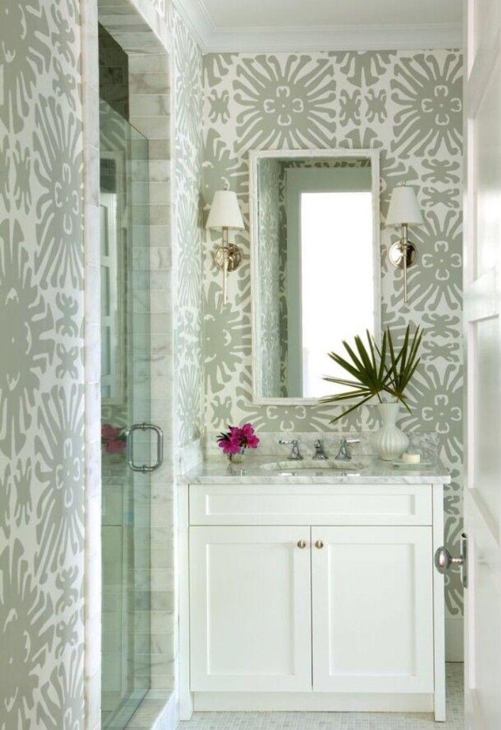 Neutral Bathroom With Wallpaper Interior Design Kevin
