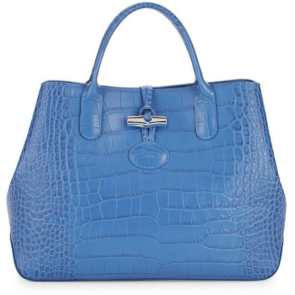 Longchamp Roseau Crocodile Embossed Leather Tote ($480) ❤ liked on Polyvore featuring bags, handbags, tote bags, blue tote handbags, blue tote bag, longchamp tote bag, tote hand bags and man tote bag