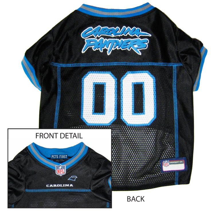 Collar Planet - Carolina Panthers NFL Licensed Pet Dog Football Jersey (http://www.collarplanetonline.com/carolina-panthers-nfl-licensed-pet-dog-football-jersey/) Show support for the Carolina Panthers with this great looking football dog jersey which features a screened-on city name and a small team logo on the front.