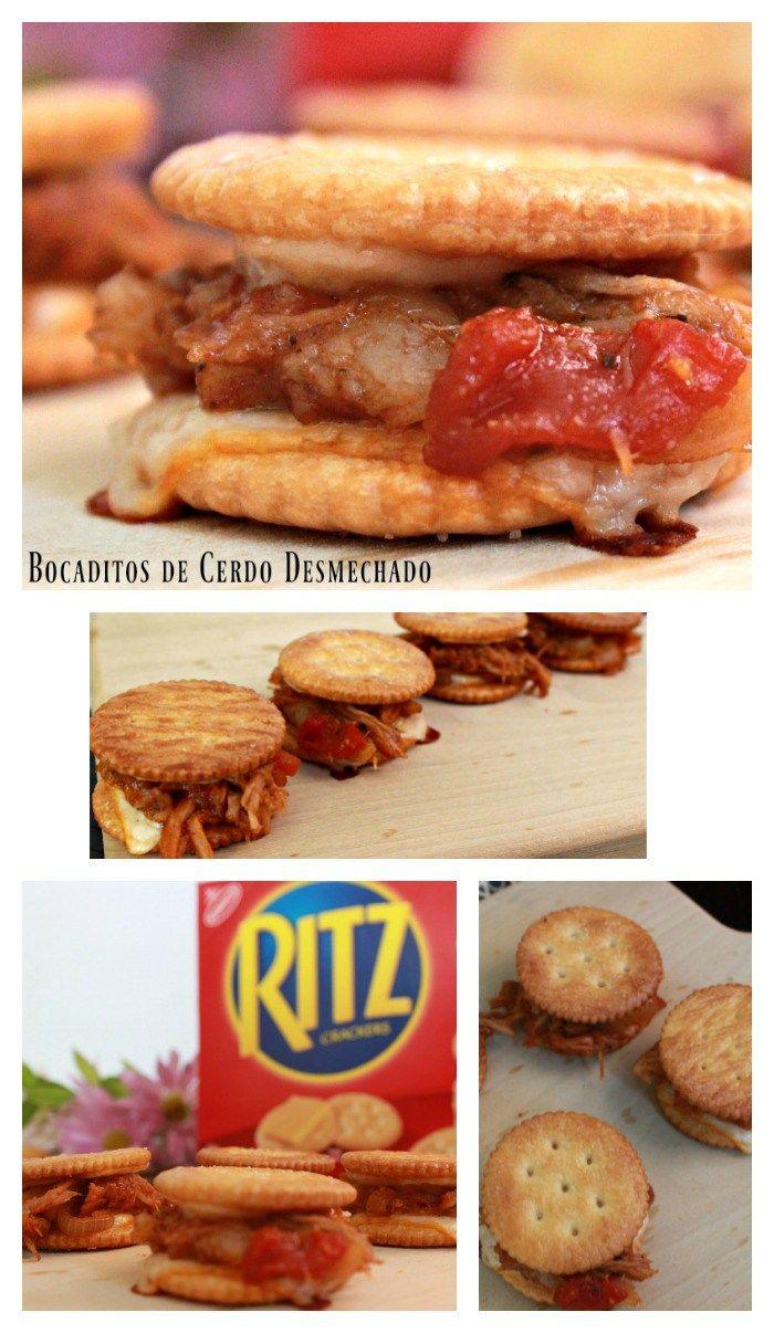 Deliciosos bocaditos de Cerdo Desmechado con Salsa Barbacoa y Galletas RITZ #LetsMerienda #ad @nab