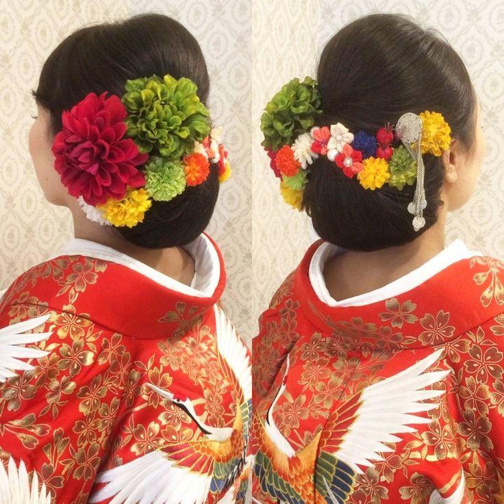 結婚式の前撮り 和装ロケーション撮影のお客様 艶々の黒髪をいかして 下めの和髪に! 赤や緑、黄色などの鮮やかな お花やつまみ細工のお花、 簪などを付けて華やかに #ヘア #ヘアメイク #ヘアアレンジ #結婚式 #結婚式ヘア #サロモ #東海プレ花嫁 #ウェディング #バニラエミュ #セットサロン #ヘアセット #アップスタイル #成人式ヘア #プレ花嫁 #和装前撮り #前撮り #着物ヘア #ヘアアクセサリー #撮影 #和装ヘア#色打掛#2016秋婚 #2017春婚 #結婚準備#成人式#和髪#kimono  #hair #wedding
