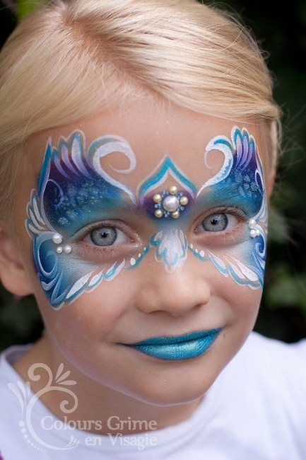 Blue Mask Face Paint...cute for s birthday party