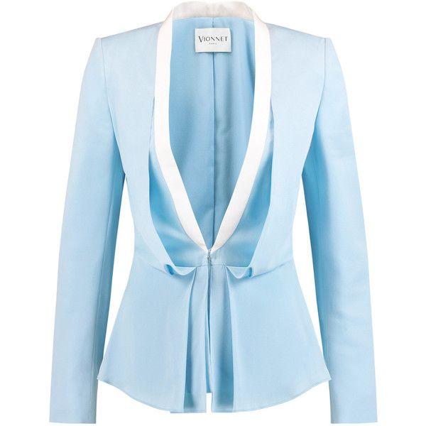 Vionnet Draped silk blazer (€530) ❤ liked on Polyvore featuring outerwear, jackets, blazers, sky blue, slim blazer, sky blue blazer, tailored blazer, drapey blazer and slim fit blazer