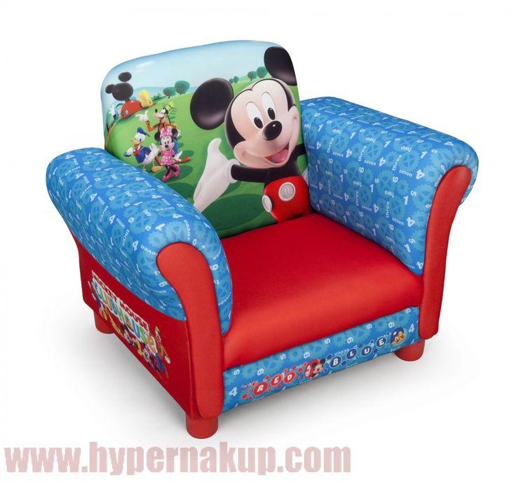 Detské čalúnené Disney kreslo Mickey Mouse