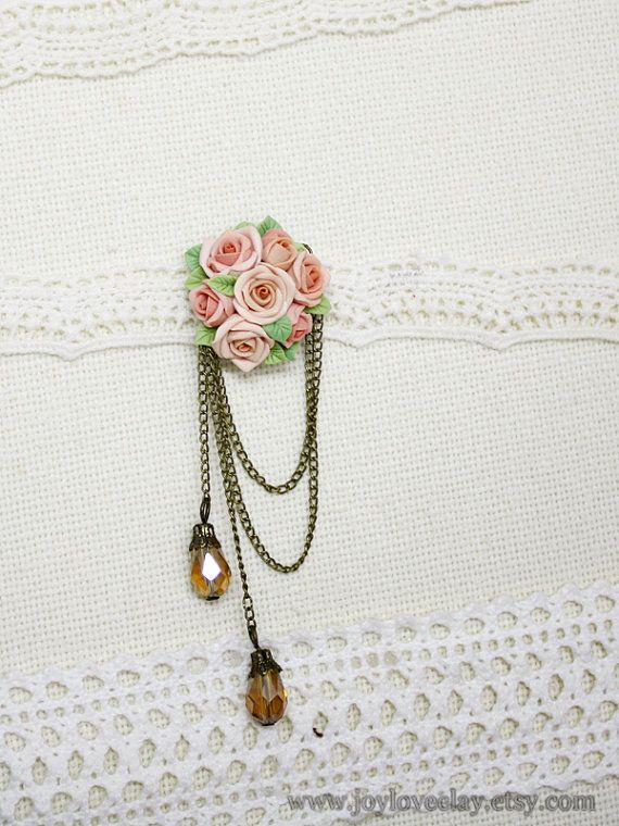 handmade rose brooch handmade rose antique jewelry by Joyloveclay