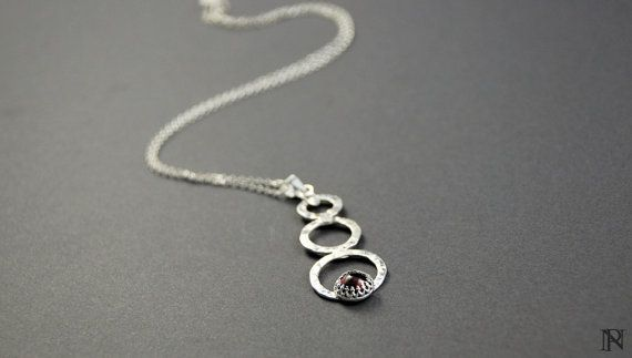 Modern artisan silver pendant garnet pendant unique jewelry Christmas gift
