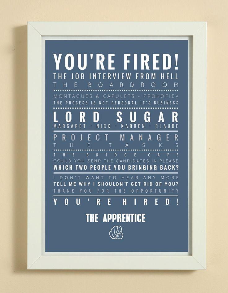 The Apprentice UK TV Show Word Art Design Print - A4 White Box Framed