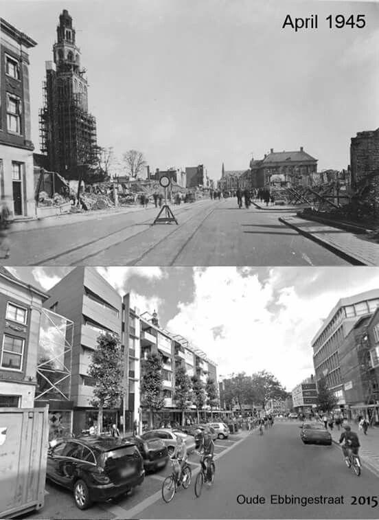 Oude Ebbingestraat Groningen 1945 en 2015.