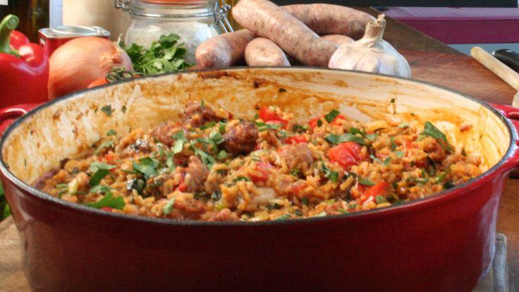Une recette de riz à la saucisse épicée, présentée sur Zeste et Zeste.tv