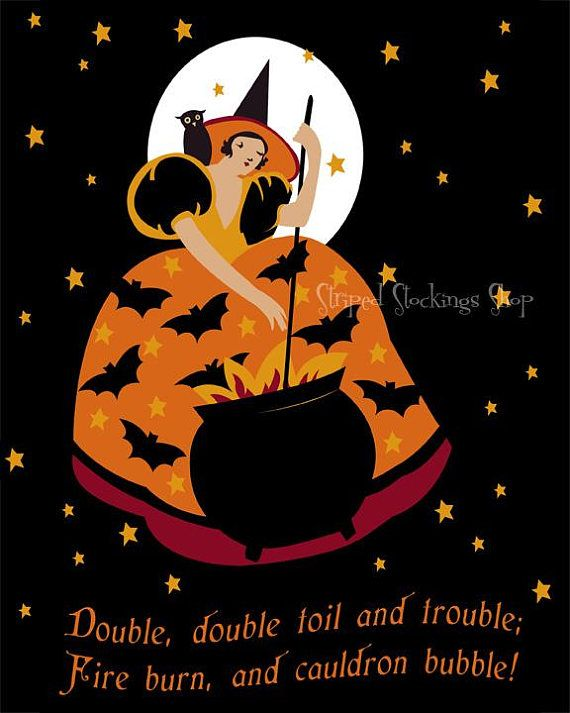 """""""Toil and Trouble"""" Shakespeare Witch Halloween Art Download"""