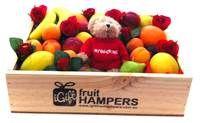 Valentine Gift Hamper + My Valentine Message Bear + Silk Red Roses http://www.igiftfruithampers.com.au/valentines-day-gifts #valentinesgift #valentinesday #valentineshamper #fruithamper #fruitbasket