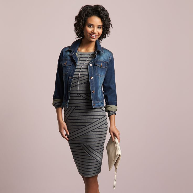 If you're ready to take stripes to a whole new figure-flattering level, look for a dress or skirt that has stripes that vary in direction. This optical illusion conceals imperfections & ultimately makes you look more balanced—especially when diagonal stripes gather near your natural curves.