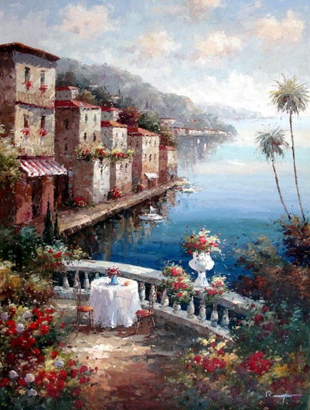 Table on the Seaside Terrace I by Moreyov - Original Oil Painting Artist: Moreyov  Size: 48 High x 36 Wide Canvas  Hand-painted, original oil painting on unstretched canvas.