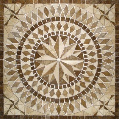 ms international del sol 36 in x 36 in brown travertine medallion mosaic tile model smot med. Black Bedroom Furniture Sets. Home Design Ideas