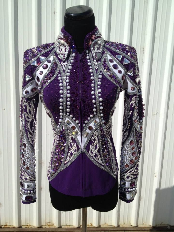 This is beautiful! Lindsey James Show Clothing. Purple base with silver and white applique