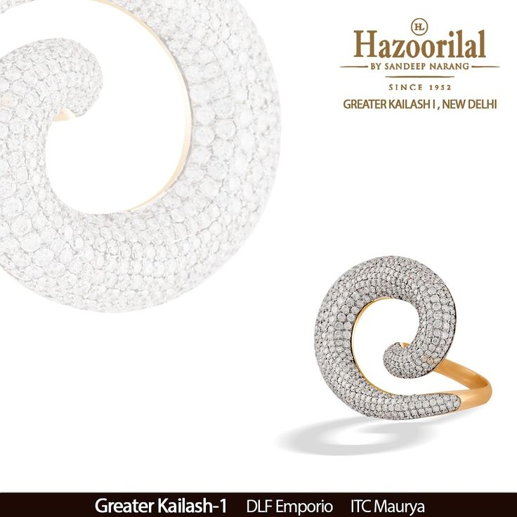 A gush of diamonds in this uniquely designed ring from the House of #HazoorilalBySandeepNarang  #DazzlingDiamonds #Rings #GeometricalDesigns #Gold #StatementRing #HighJewellery #FineJewellery #Since1952 #GK-1 #ITCMaurya #DlfEmporio #HazoorilalJewellers #Hazoorilal